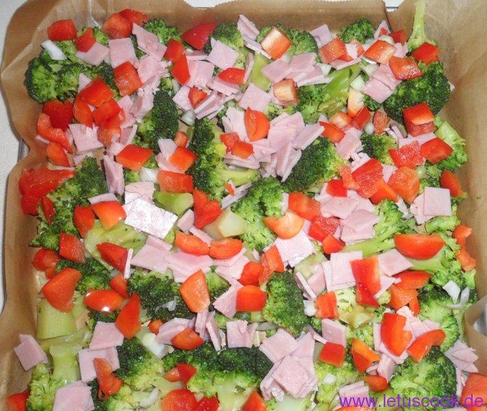 Brokkoli-Schinken Auflauf-Vorbereitung