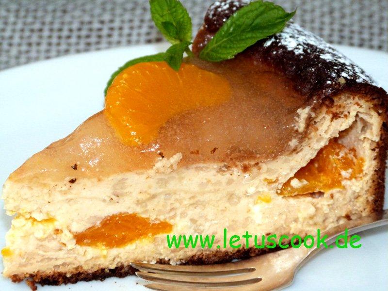 Käsekuchen mit Mandarinen und Haferflocken