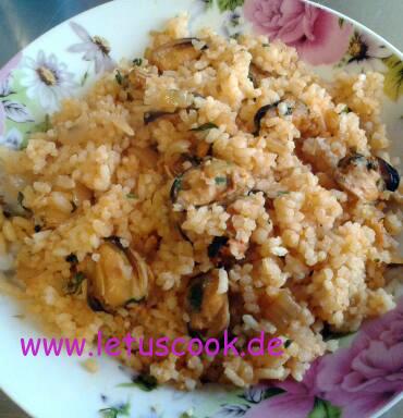 Miesmuscheln-Reis Pfanne