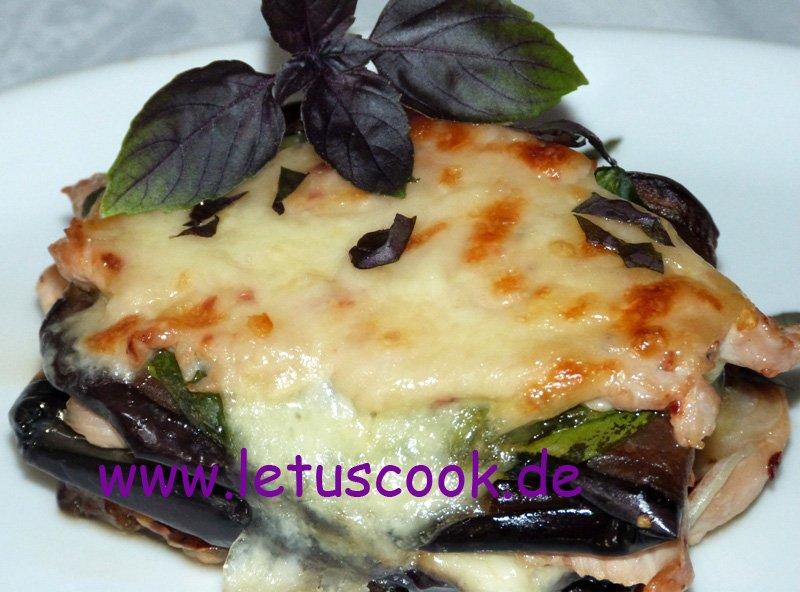 Putenschnitzel-Auberginen Lasagne
