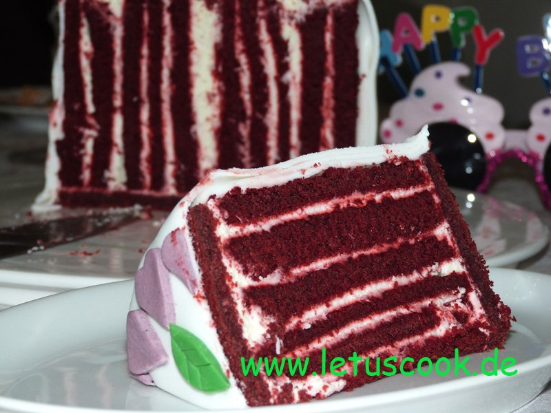 Red velvet vertical layer cake
