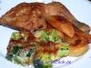 Überbackener Brokkoli mit Hähnchenkeule