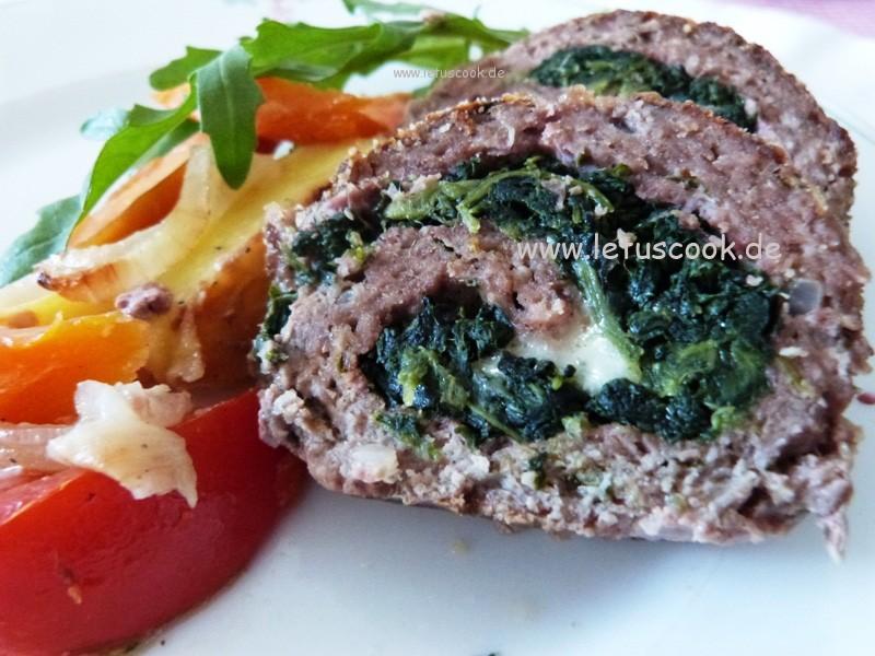 Hackfleisch mit Spinat und Mozzarella