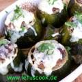 Uebackene Zucchini -mit Hackfleischfuellung
